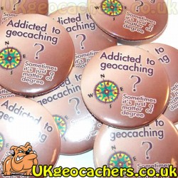 Addicted to Geocaching 44mm Button Badge