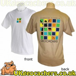 10 Year Geocaching Anniversary T-Shirt - White - XXXL