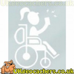 Woman in Wheelchair Geocaching Decal