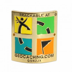 Trackable Hiking Stick Medallion (Retro Edition)
