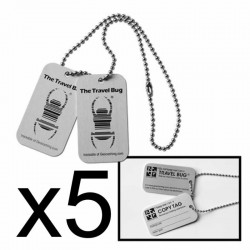 Pack of 5 Travel Bug Dog Tags