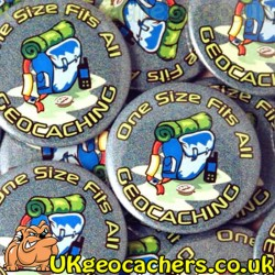One Size Fits All Geocaching 44mm Button Badge
