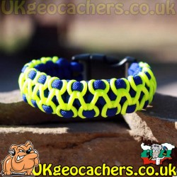 Paracord Geocaching Bracelet - Royal Blue and Yellow