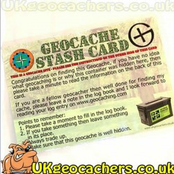 Large Geocache Stash Card