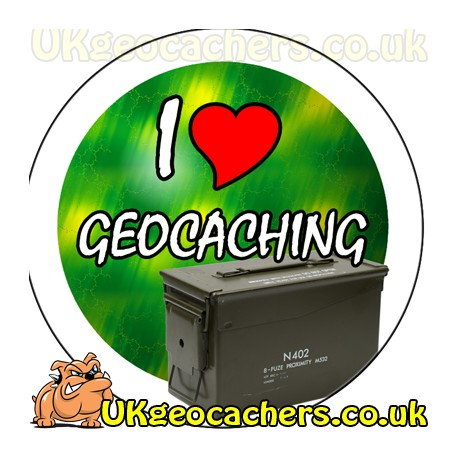 I Love Geocaching 44mm Button Badge