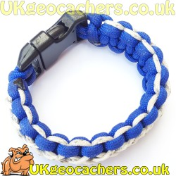 Paracord Geocaching Bracelet - Royal Blue and Reflective White