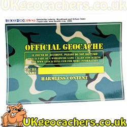 Woodland Camo Medium Cache Sticker