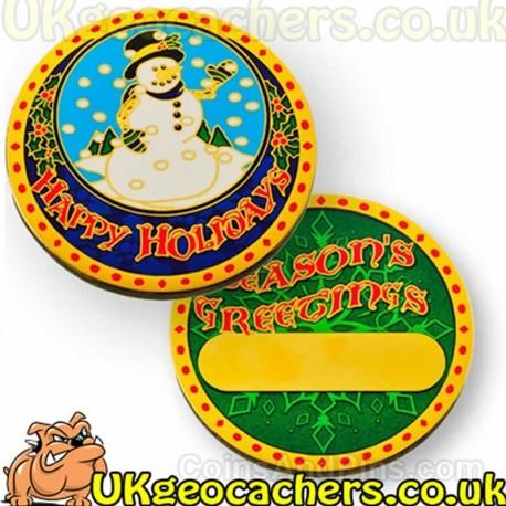 Happy Holidays Snowman Geocoin