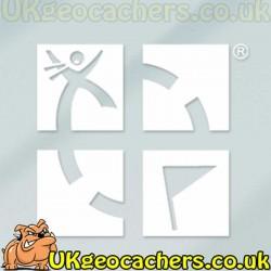 "White 5""x 5"" Geocaching Logo Vinyl Decal"