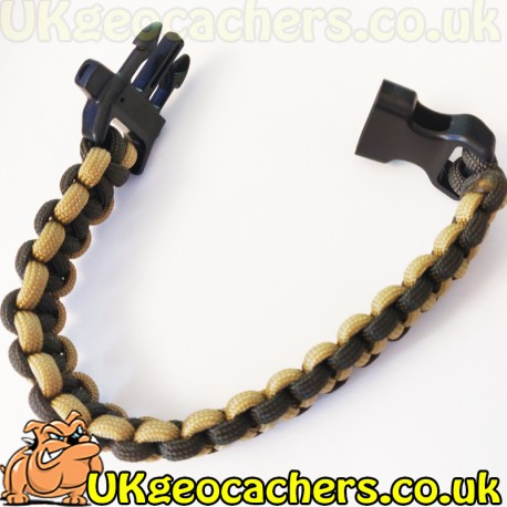 Paracord Geocaching Bracelet - Olive Green and Brown