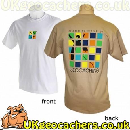 10 Year Geocaching Anniversary T-Shirt - White - Small