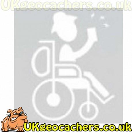 Man in Wheelchair Geocaching Decal