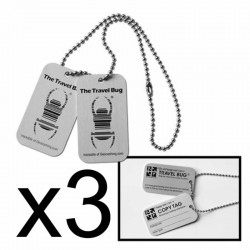 Pack of 3 Travel Bug Dog Tags