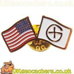 USA Flag Geocaching Pin