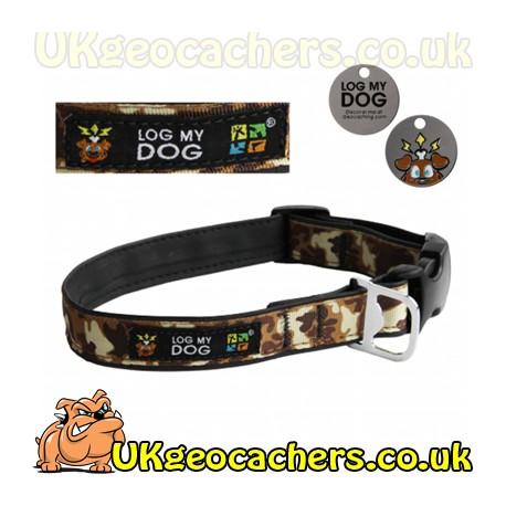 Log My Dog Collar - Camo Brown