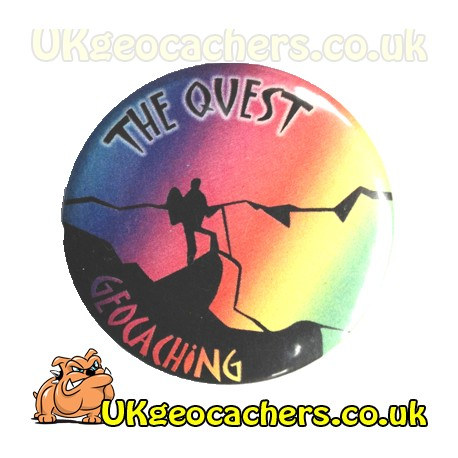The Quest 44mm Geocaching Button Badge