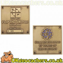 Limited Edition Blue Switch Geocoin - Gold